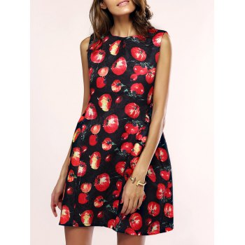 Trendy Tomato Print Sleeveless Dress For Women