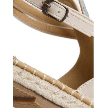 Leisure Straw and Floral Design Women's Sandals - OFF WHITE 38