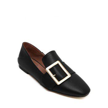 Stylish Square Toe and Buckle Design Women's Flat Shoes