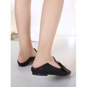 Stylish Square Toe and Buckle Design Women's Flat Shoes - BLACK 40