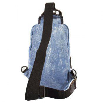 Casual Patchwork and Buckle Design Men's Backpack - DENIM BLUE
