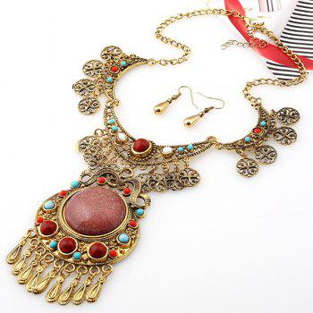 A Suit of Alloy Emboss Floral Water Drop Necklace and Earrings - GOLDEN