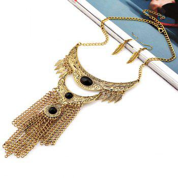 A Suit of Engraved Floral Leaf Moon Chains Necklace and Earrings - BLACK/GOLDEN