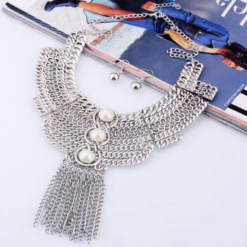 A Suit of Faux Pearl Chains Necklace and Earrings