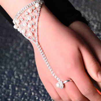 Rhinestone Faux Pearl Hollow Out Ring Bracelet