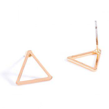 Pair of Triangle Hollowed Stud Earrings - GOLDEN