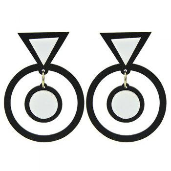 Pair of Circle Triangle Drop Earrings