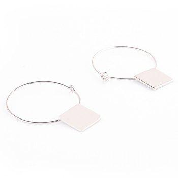 Pair of Cut Out Circle Square Shape Earrings