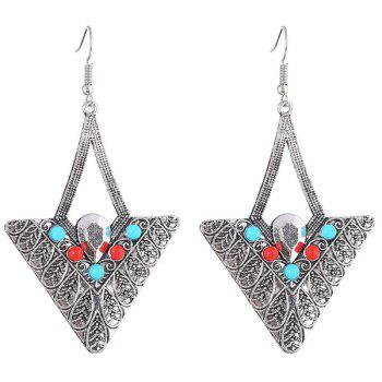 Pair of Embossed Alloy Beads Triangle Earrings