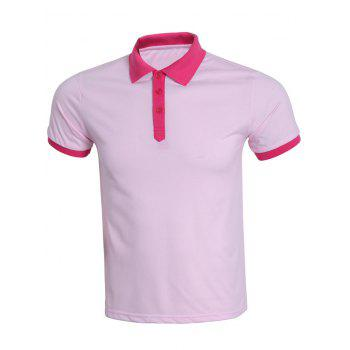 Casual Hit Color Spliced Short Sleeve Polo Shirt For Men