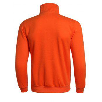 Classic Solid Color Ribbed Cuffs Long Sleeve Active Jacket For Men - ORANGE XL