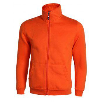 Pure Color Stand Collar Ribbed Cuffs Active Jacket For Men