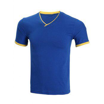 Short Sleeve Cotton Blends V-Neck Spliced Design Men's T-Shirt