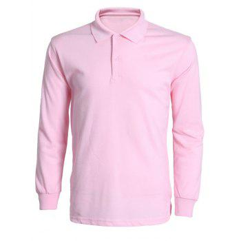 Solid Color Turn-Down Collar Long Sleeve Men's T-Shirt