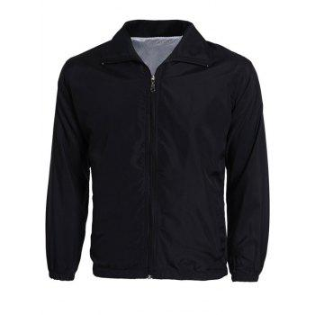 Zip-Up Turn-Down Collar Long Sleeve Solid Color Men's Jacket