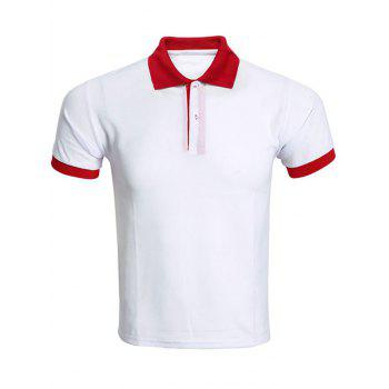Color Block Spliced Turn-Down Collar Men's Polo T-Shirt