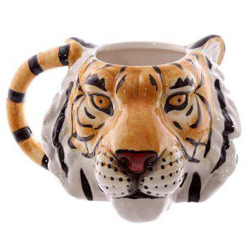 3D Tiger Head Pattern Ceramic Mug