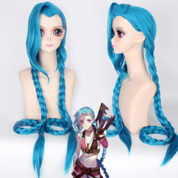 Stunning Lake Blue League of Legends Jinx Anime Cosplay Wig with Extra Long Double Braided