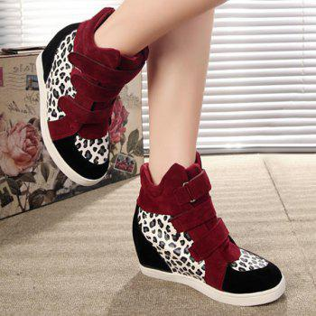 Stylish Suede and Leopard Printed Design Women's Short Boots