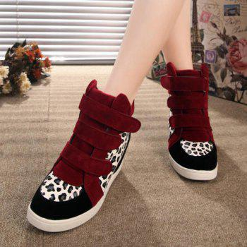 Stylish Suede and Leopard Printed Design Women's Short Boots - WINE RED 37