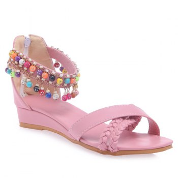 Casual Weave and Beading Design Women's Sandals - PINK 43
