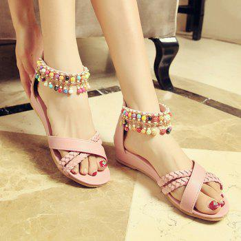 Casual Weave and Beading Design Women's Sandals