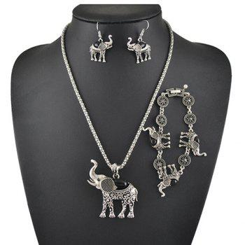 A Suit of Faux Gem Elephant Necklace Bracelet and Earrings