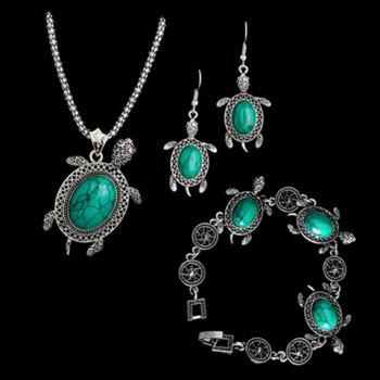 A Suit of Fake Gemstone Tortoise Jewelry Set - BLUE