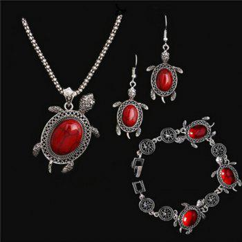 A Suit of Fake Gemstone Tortoise Jewelry Set