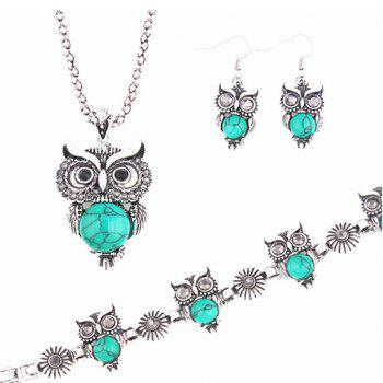 Buy Suit Fake Gemstone Owl Jewlry Set BLUE