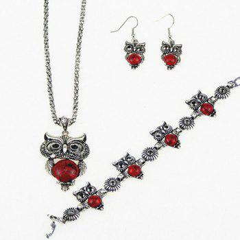 Buy Suit Fake Gemstone Owl Jewlry Set RED