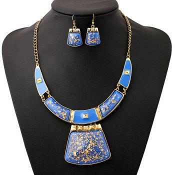 A Suit of Geometric Alloy Necklace and Earrings - BLUE