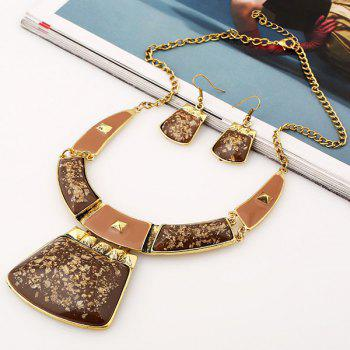 A Suit of Geometric Alloy Necklace and Earrings - COFFEE