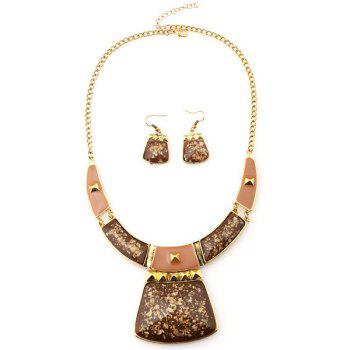 A Suit of Geometric Alloy Necklace and Earrings