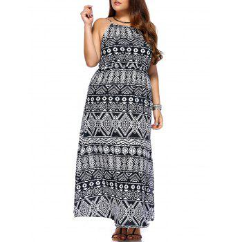 Trendy Geometrical Printed Sleeveless Plus Size Dress For Women