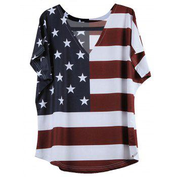 Short American Flag Pattern Sleeve V-Neck T-Shirt