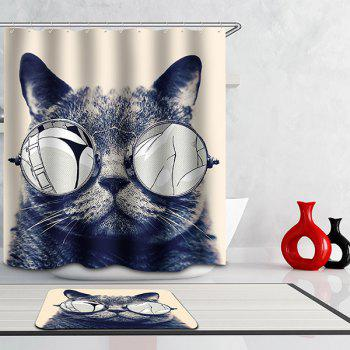 Hot Selling Bathroom Glasses Cat Pattern Waterproof Shower Curtain - COLORMIX COLORMIX