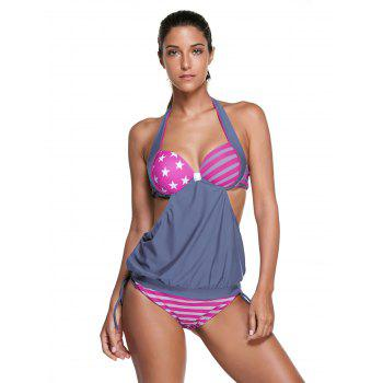 Halter Star Print Striped Tankini Set
