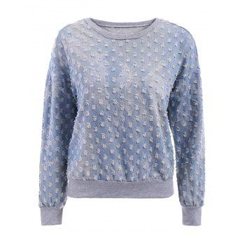 Frayed Denim Splicing Scoop Collar Long Sleeve Stylish Women's Sweatshirt - BLUE BLUE