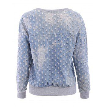 Frayed Denim Splicing Scoop Collar Long Sleeve Stylish Women's Sweatshirt - BLUE S