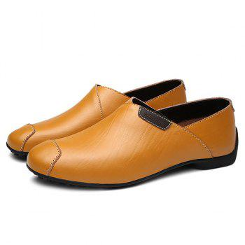 Stylish Color Splicing and PU Leather Design Men's Casual Shoes - YELLOW 41