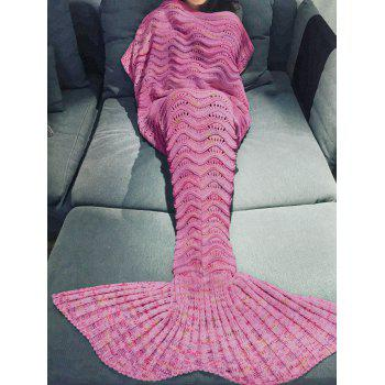 Handmade Knitted Mermaid Tail Design Blanket - PEACH RED PEACH RED