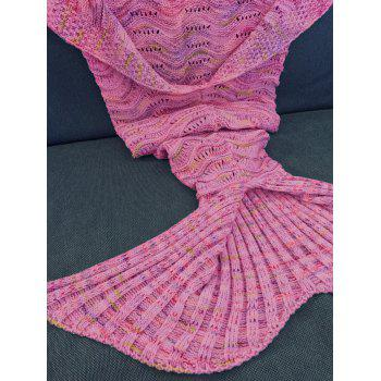 Handmade Knitted Mermaid Tail Design Blanket -  PEACH RED
