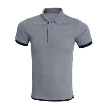 "<P>Simple Bicolor Spliced Short Sleeve Polo Shirt For Men</P><I Class=""Icon Down Js Tap Up Down""></I> by Dress Lily"