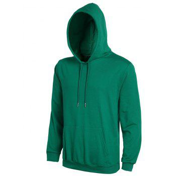 Casual Solid Color Ribbed Hem Long Sleeves Hoodie For Men - DEEP GREEN 3XL