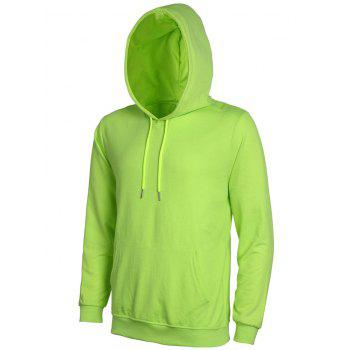 Casual Solid Color Ribbed Hem Long Sleeves Hoodie For Men - APPLE GREEN 3XL