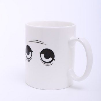 Creative Wake Up Expression Pattern Ceramic Heat Reactive DIY Color Changing Mug For Gifts - WHITE