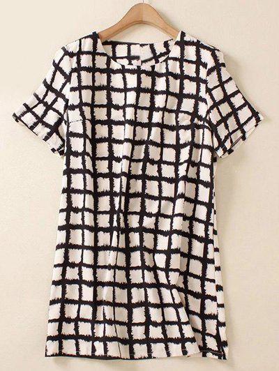 Plus Size Brief Plaid Print Shift Blouse - WHITE/BLACK XL