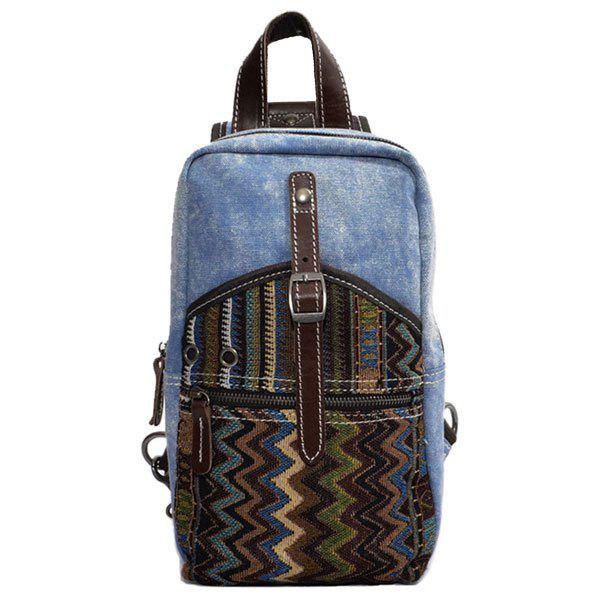 Casual Patchwork and Buckle Design Men's Backpack