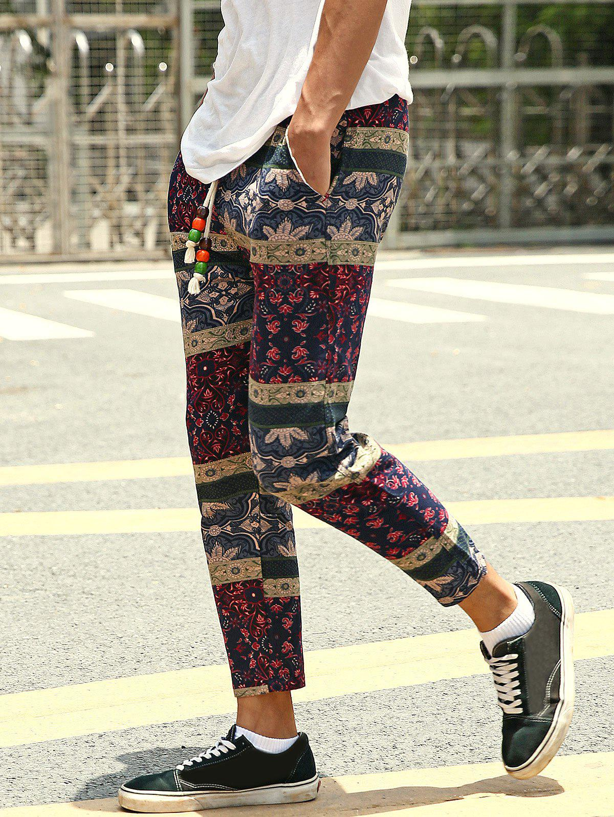 Casual Style Lace-Up Tribal Printing Slimming Men's Narrow Feet Pants - COLORMIX XL